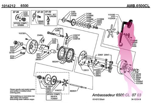 Abu ambassadeur 6500CL schematic パーツリスト