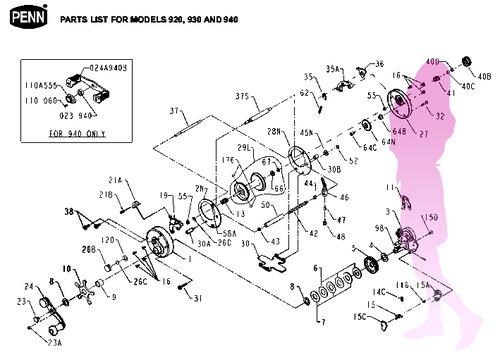 PENN reel LEBELMATIC 920 & 930 schematic★彡