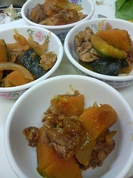 かぼちゃと豚肉の煮物