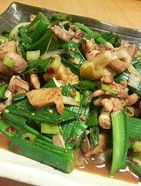 鶏肉と葉玉ねぎの豆板醤炒め