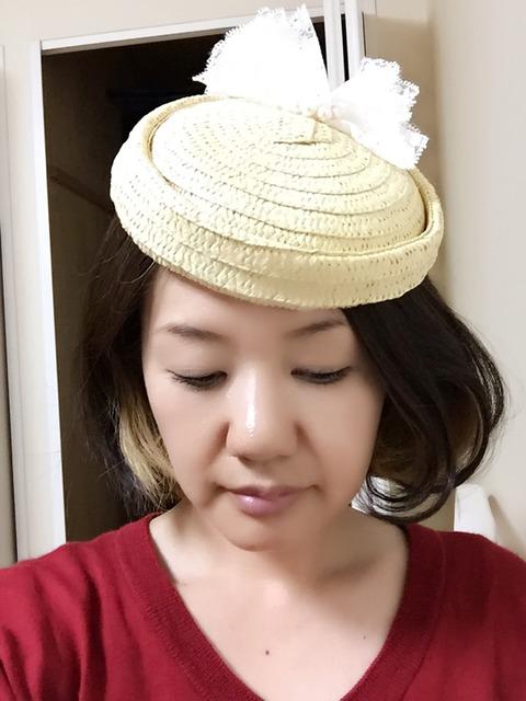 100均のkids麦わら帽子をトーク帽にリメイク