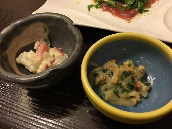湯心亭 あさりの柚子胡椒味噌、北寄貝のサラダ