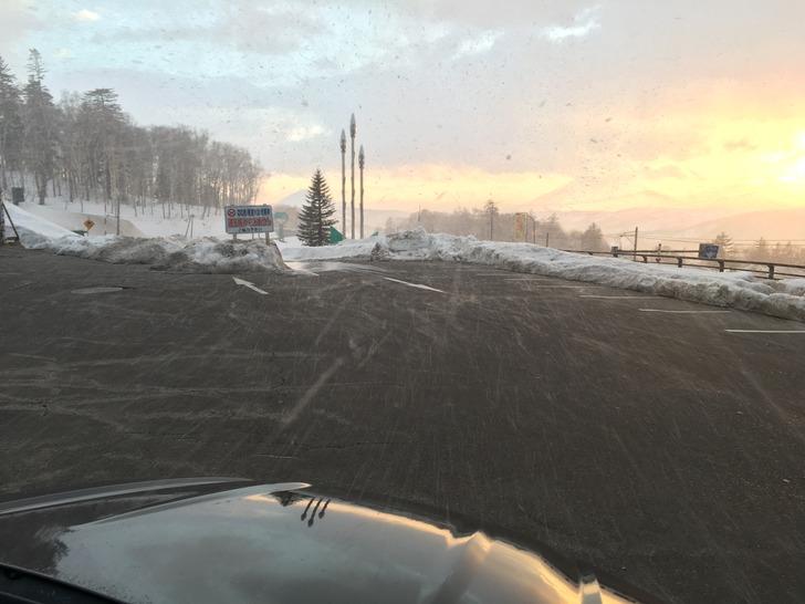 道の駅 望羊中山 羊蹄山 夕焼け 吹雪