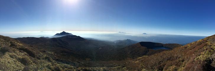 韓国岳 山頂 パノラマ