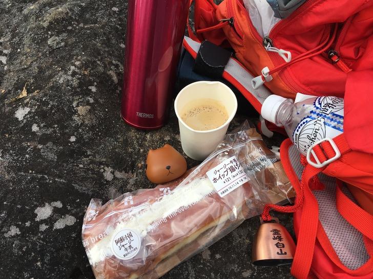 大崩山 山頂 昼食 パン カピバラさん