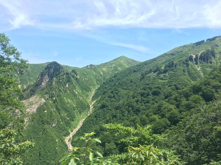 巻機山 6合目から見た割引岳