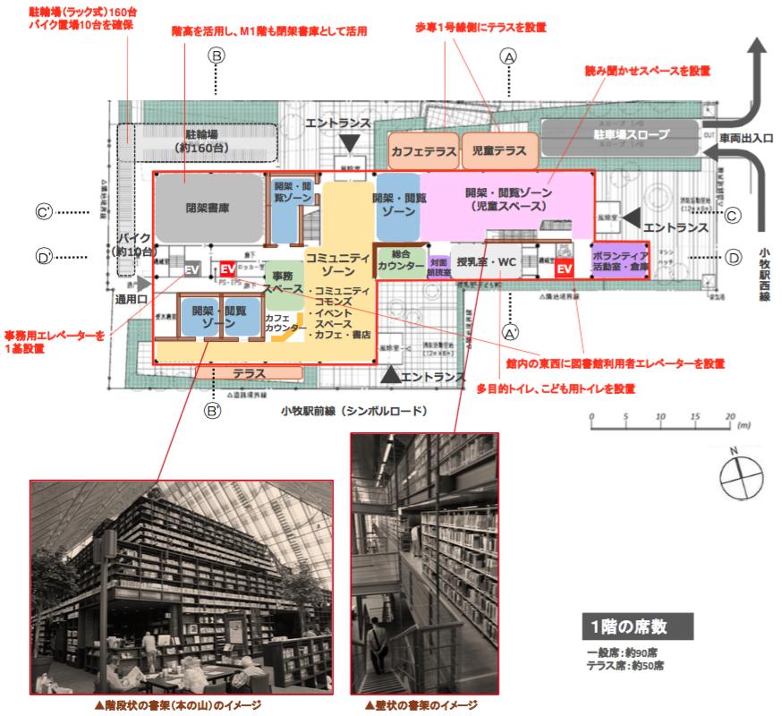 新小牧市立図書館建設基本設計(案):各階平面図(1階)