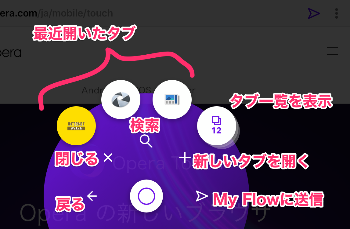Opera Touch 1.0.3:FABメニューの説明