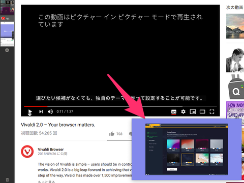 Vivaldiの「ピクチャー・イン・ピクチャー」機能の使い方とTips(追記あり)