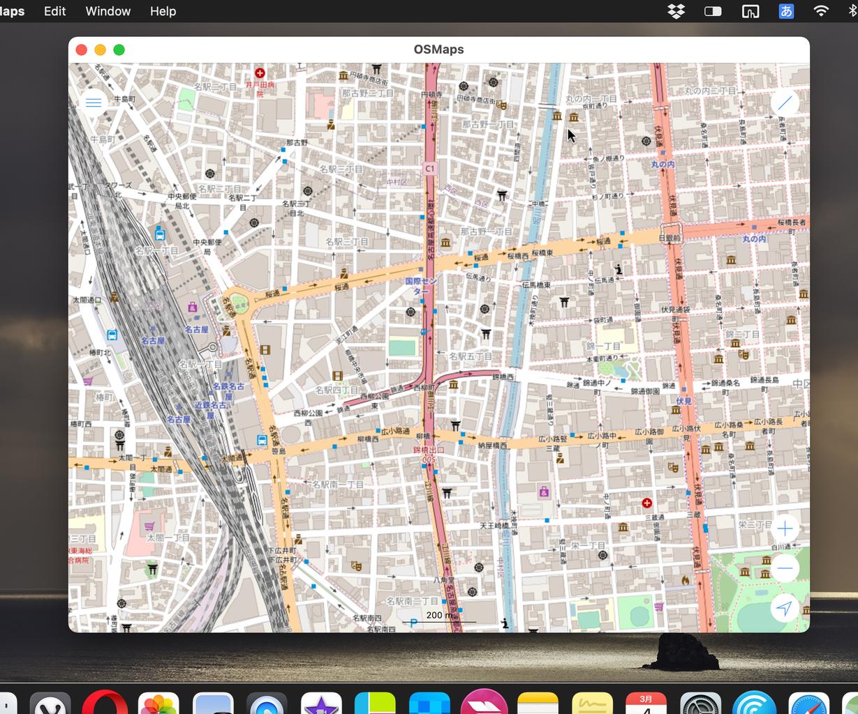 iPad用アプリ「OSMaps」をMacで使用