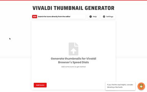 Vivaldiのスピードダイヤル・サムネイルを簡単に作成できる「Vivaldi Thumbnail Generator」(追記あり)