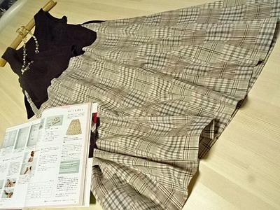 ロングフレアースカート手作り (5)