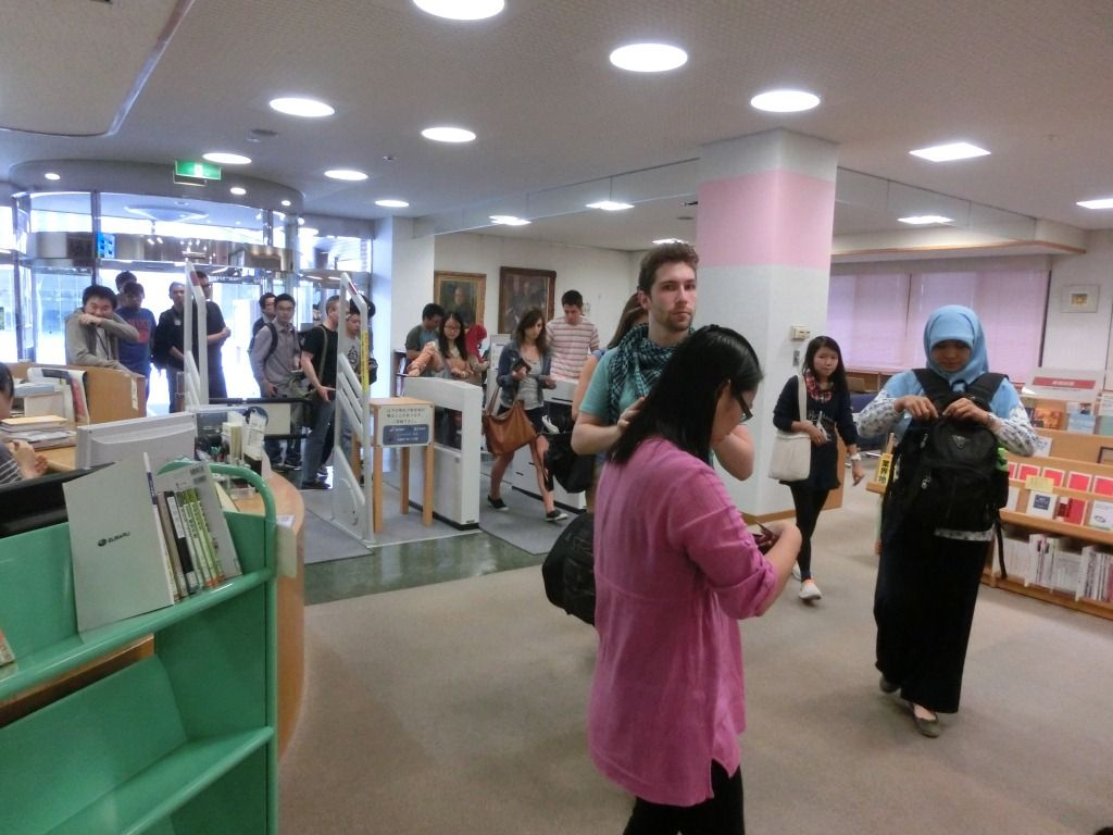 Students entering the library