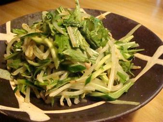 もやしときゅうりと水菜のサラダ