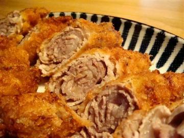 薄切りロース肉のロールとんかつ