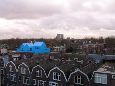 真っ青に染めてしまったロッテルダムの建物09