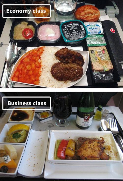 ファーストクラスとエコノミークラスの機内食16
