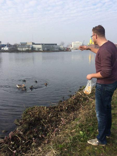 オランダの川辺をゴミ掃除12