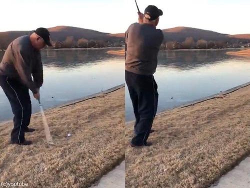 ゴルフボールを凍った湖に打ったときのサウンド01