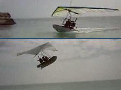 海から大空へと飛び回るボート