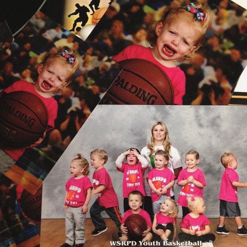 娘のバスケットボールのチーム写真01