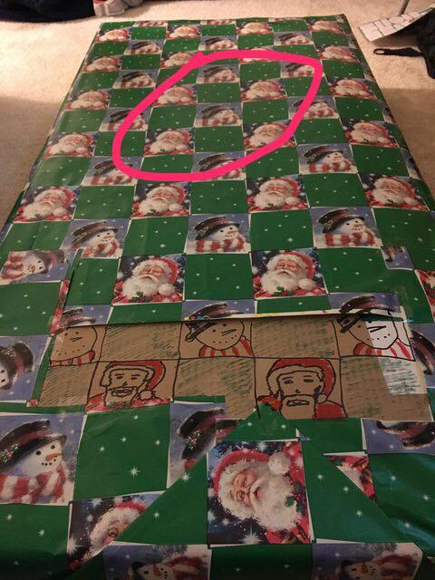 クリスマスの包装紙が足りないとき02