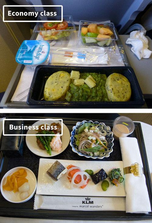 ファーストクラスとエコノミークラスの機内食12