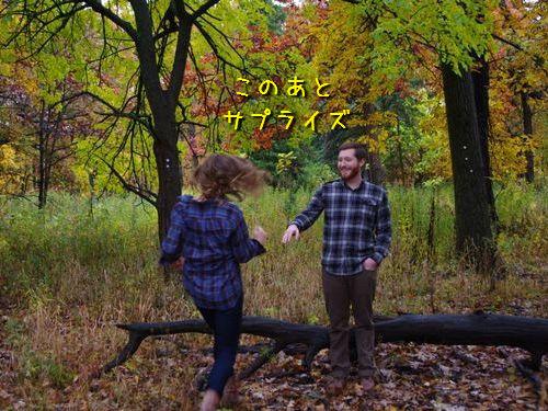 森の中で自動撮影にしてプロポーズ00