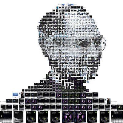 Apple製品の写真によって描かれたスティーブ・ジョブズ