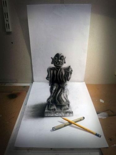 紙に描いた立体アート04