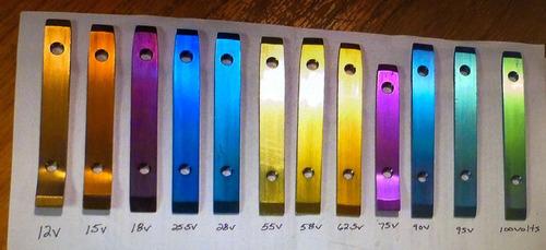 チタンに違う電圧をかけると、違う色になる01