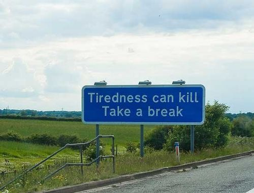 疲労に注意の標識01
