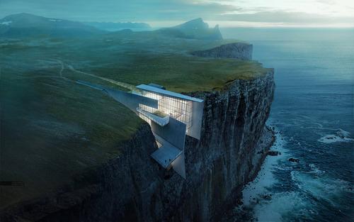 崖の上にホテルがあるときのエレベーター03