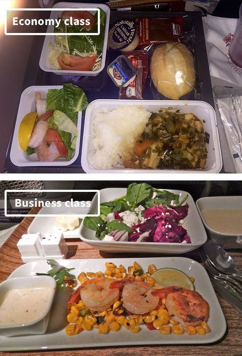 ファーストクラスとエコノミークラスの機内食13