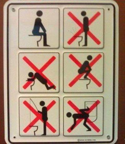 ボケすぎなトイレの使用方法の表記