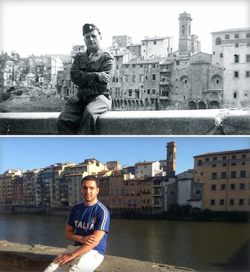 17第二次世界大戦1944年と2014年のイタリアのアルノ川