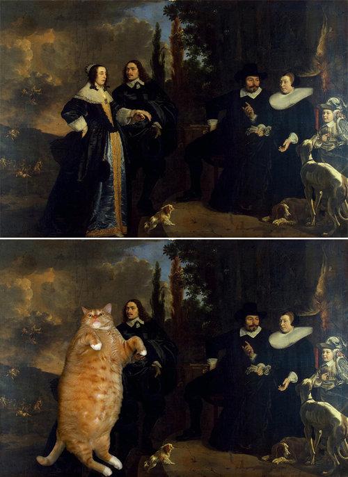 名画に猫04