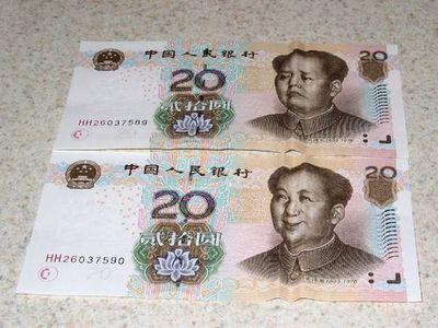 人民元-毛沢東の20元札01