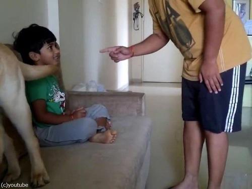 犬が男の子を父から救おうとする01