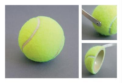 テニスボールを半分に割って、ヘッドバンド装着-くだらない笑える面白いリサイクル17