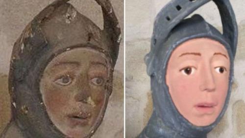 15世紀の聖母子像、しろうとの修復によって残念なことに02