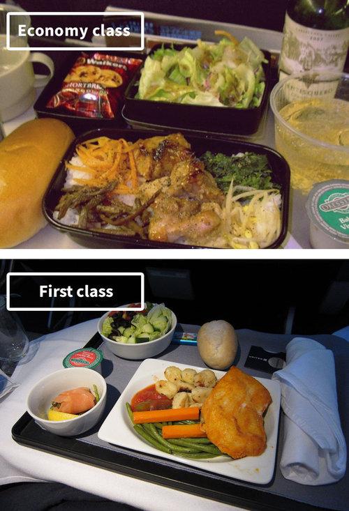 ファーストクラスとエコノミークラスの機内食03