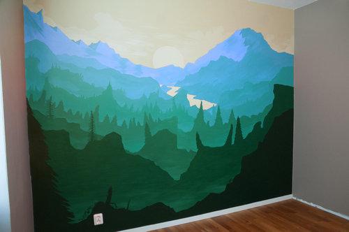 寝室の壁にペイント05