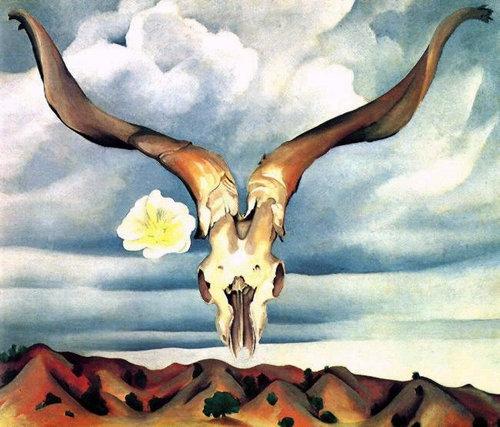 04-雄羊の頭、白いタチアオイ、丘