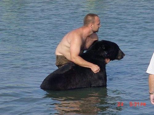 おぼれる熊を素手で助け出す09
