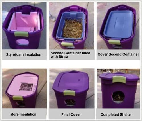クーラーボックスを野良猫の冬用のシェルターにリサイクル01