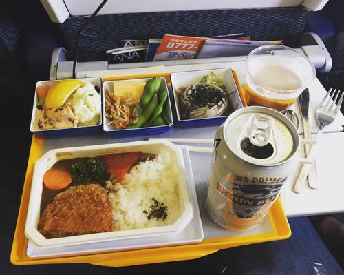 日本の航空会社のエコノミークラスの食事に感動するアメリカ人01