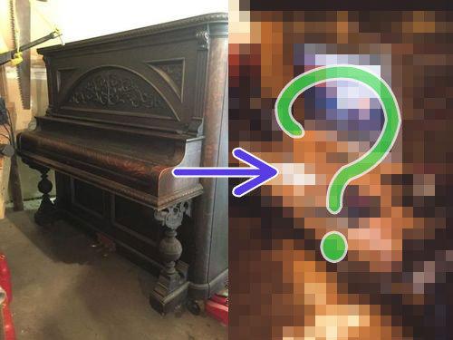 古いピアノをパソコンデスクに00
