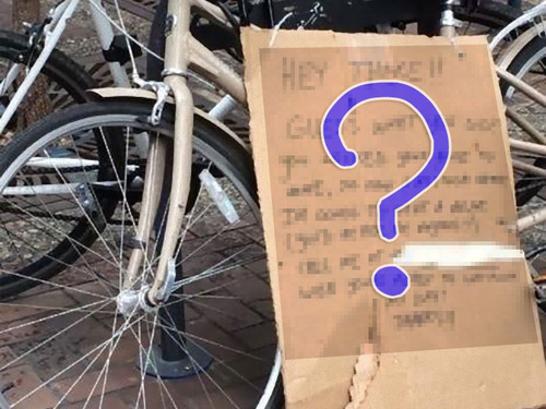 自転車置き場に戻ったらメモが残されていた