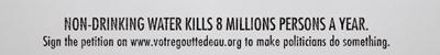 飲み水がないということは1年に800万人を殺す・英文